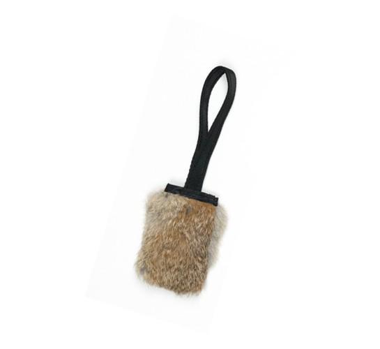 Pocket Squeaker Kaninchenfell Hundespielzeug mit Quietschie schwarzer Griff