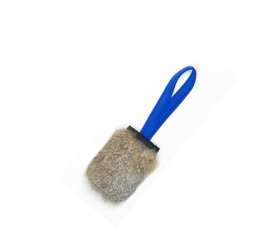 Pocket Squeaker Kaninchenfell Hundespielzeug mit Quietschie blau