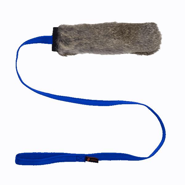 Chaser Tug Squeaker Kaninchenfell blau
